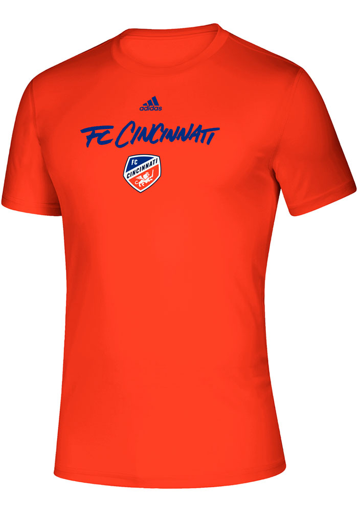 Adidas FC Cincinnati Orange Wordmark Goals Short Sleeve T Shirt - Image 1