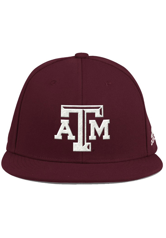 Adidas Texas A&M Aggies Mens Maroon 2020 On-Field Baseball Fitted Hat - Image 1