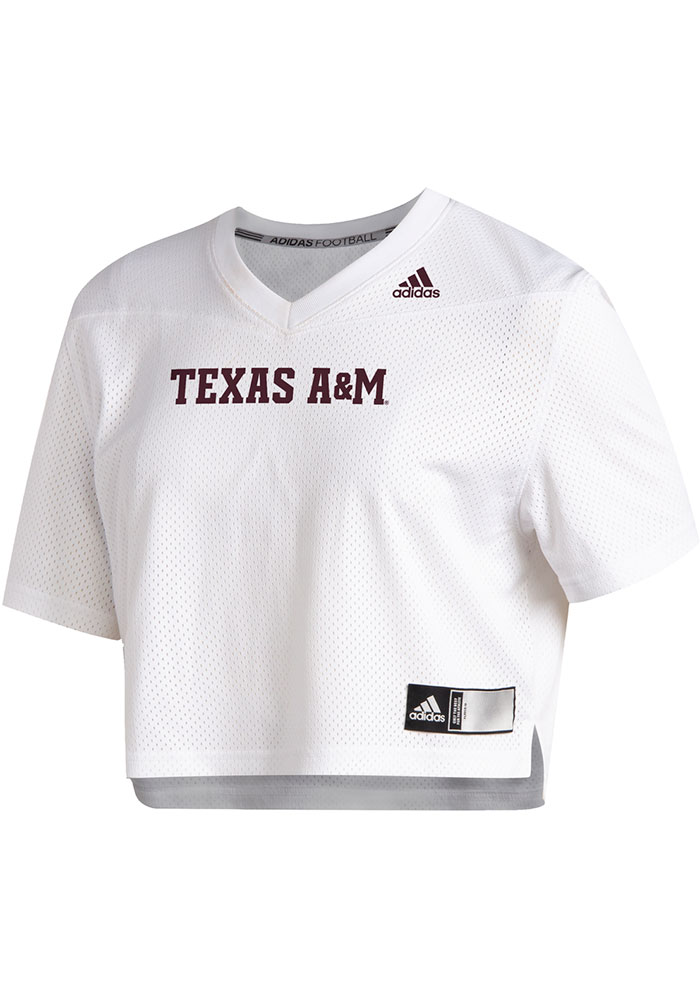Texas A&M Aggies Womens Adidas Graphic Crop Fashion Football Jersey - White - Image 1
