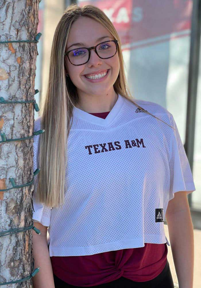 Texas A&M Aggies Womens Adidas Graphic Crop Fashion Football Jersey - White - Image 3