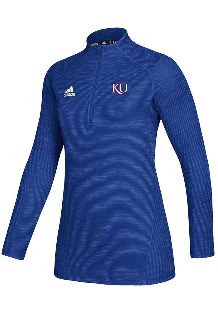 Adidas KU Jayhawks Womens Blue Game Mode 1/4 Zip Pullover - Image 1