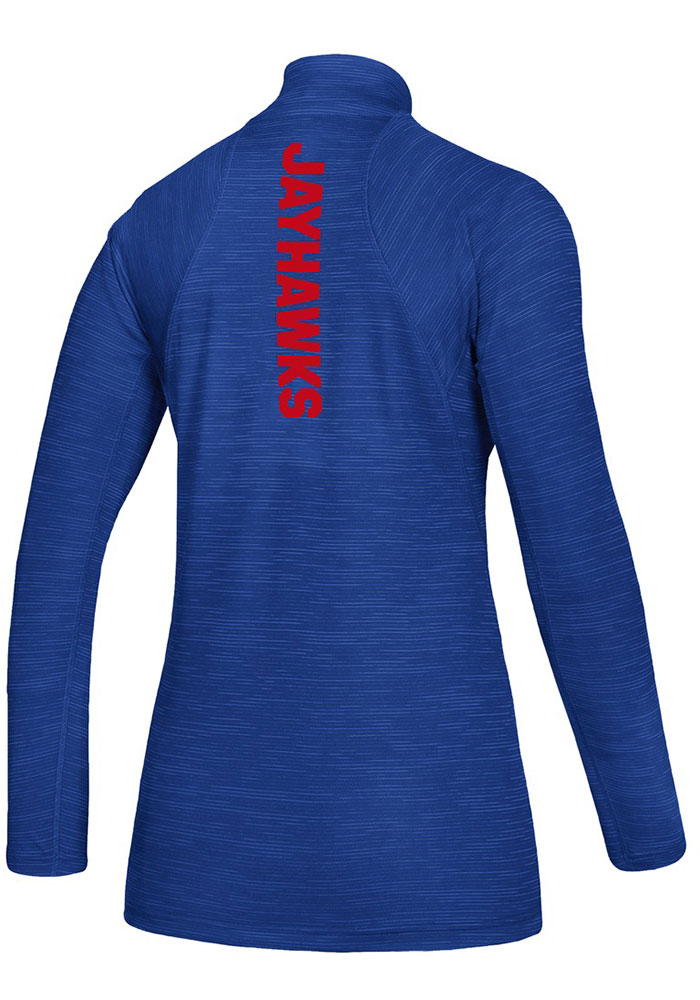 Adidas KU Jayhawks Womens Blue Game Mode 1/4 Zip Pullover - Image 2