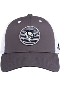 Pittsburgh Penguins Adidas Mesh Trucker Adjustable Hat - Charcoal