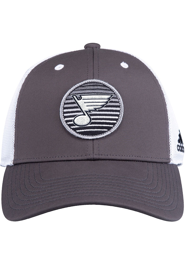 St Louis Blues Adidas Mesh Trucker Adjustable Hat - Charcoal