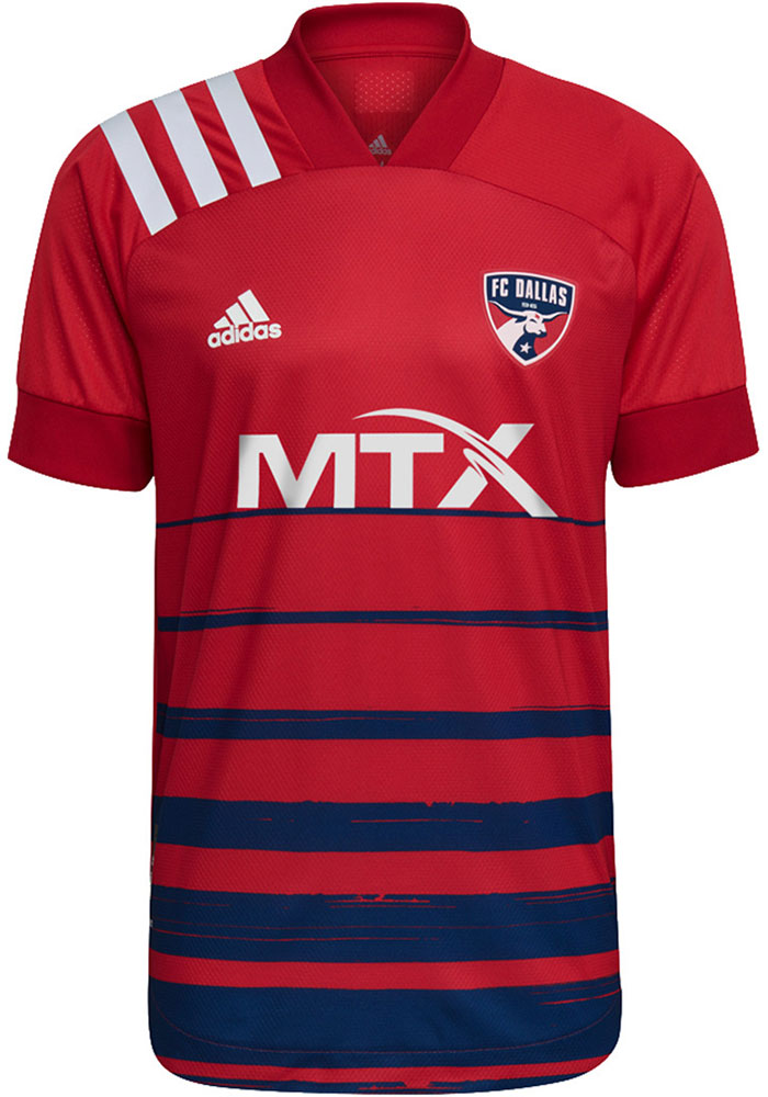 FC Dallas Mens Adidas Authentic Soccer 2021 Primary Authentic Jersey - Red - Image 1