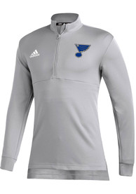 St Louis Blues Adidas Left Wing 1/4 Zip Pullover - Grey