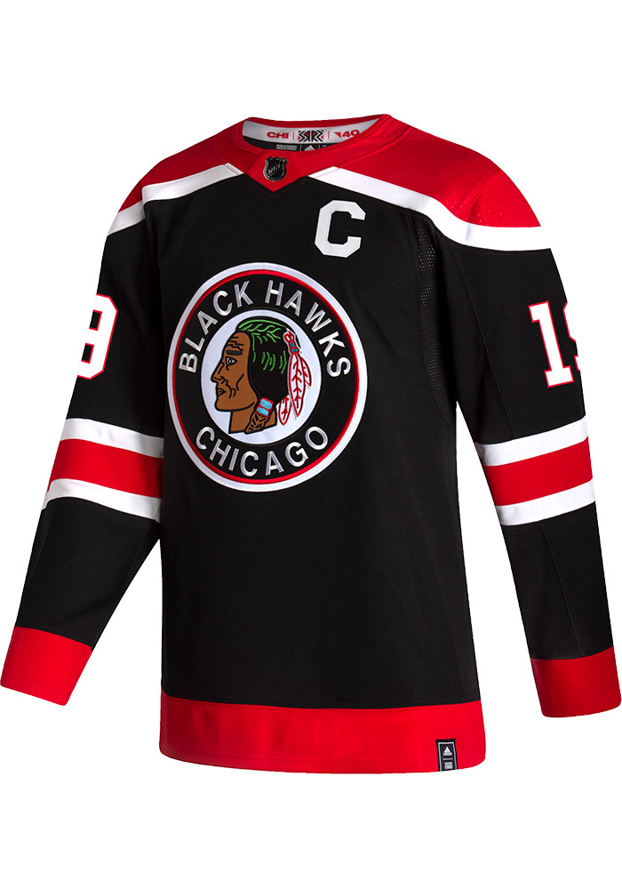 Adidas Jonathan Toews Chicago Blackhawks Mens Black Reverse Retro Hockey Jersey - Image 2