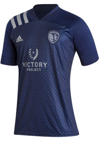 Sporting Kansas City Adidas Secondary Replica Soccer - Navy Blue