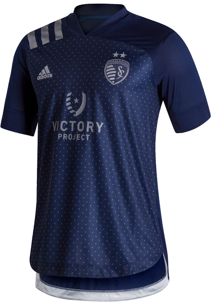 Sporting Kansas City Mens Adidas Authentic Soccer Secondary Jersey - Navy Blue - Image 1