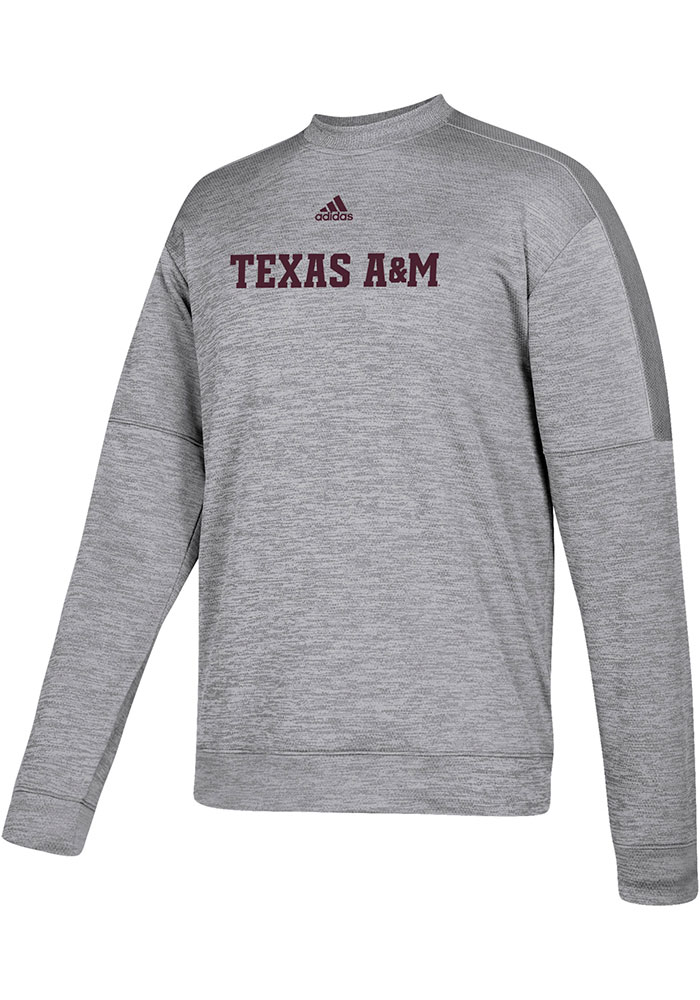 Adidas Texas A&M Aggies Mens Grey Locker Official Font Long Sleeve Sweatshirt - Image 1