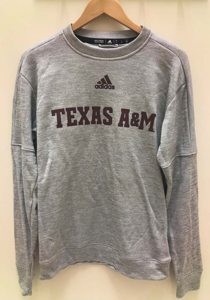 Adidas Texas A&M Aggies Mens Grey Locker Official Font Long Sleeve Sweatshirt - Image 3
