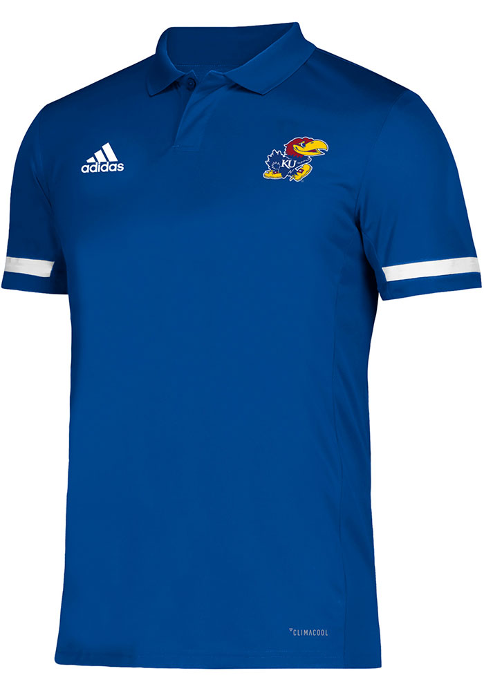 Adidas Kansas Jayhawks Mens Blue Team Short Sleeve Polo - Image 1