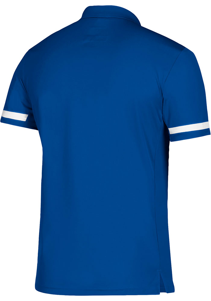 Adidas Kansas Jayhawks Mens Blue Team Short Sleeve Polo - Image 2