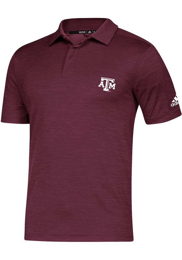 Adidas Texas A&M Aggies Mens Maroon Sideline Game Mode Short Sleeve Polo - Image 1