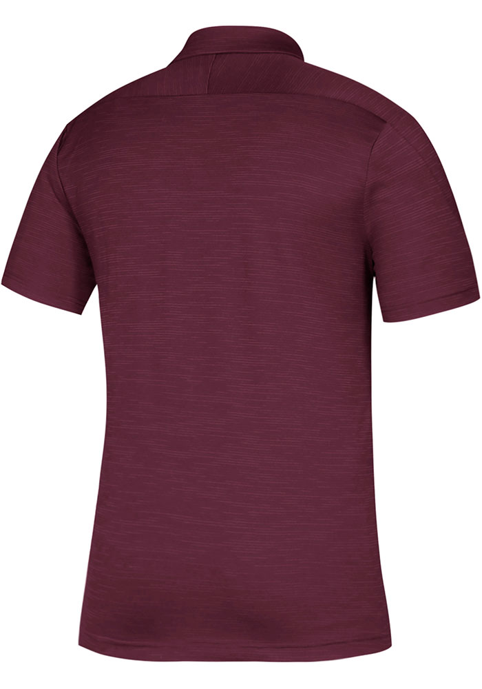 Adidas Texas A&M Aggies Mens Maroon Sideline Game Mode Short Sleeve Polo - Image 2