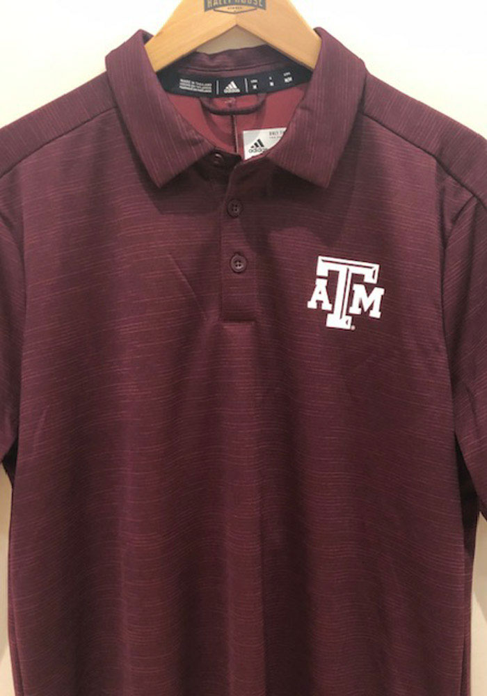 Adidas Texas A&M Aggies Mens Maroon Sideline Game Mode Short Sleeve Polo - Image 3