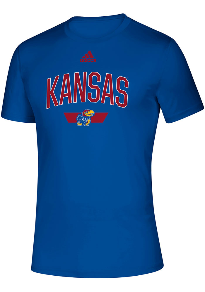 Adidas Kansas Jayhawks Blue Sideline Locker Arched Short Sleeve T Shirt - Image 1