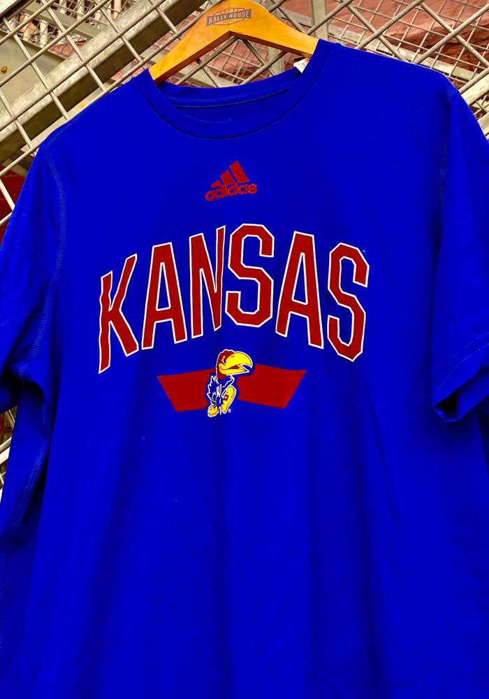 Adidas Kansas Jayhawks Blue Sideline Locker Arched Short Sleeve T Shirt - Image 3