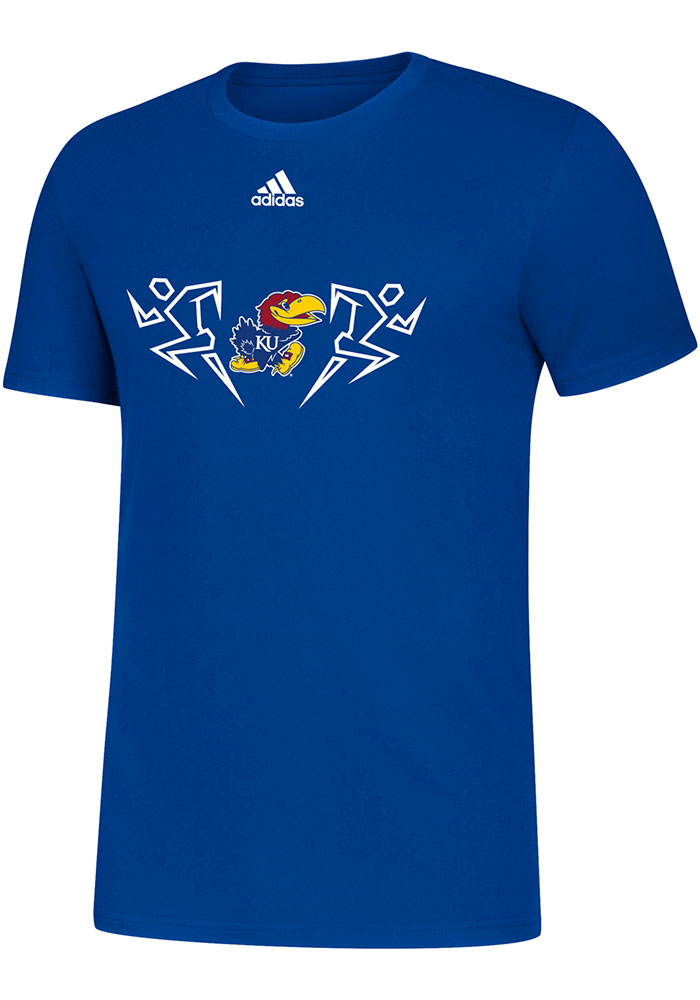 Kansas Jayhawks Adidas Sideline Track and Field Icon T Shirt - Blue