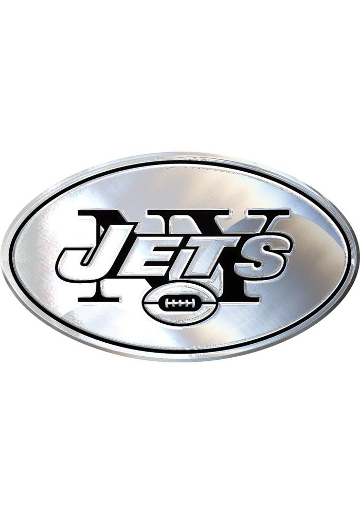 New York Jets Chrome Car Emblem - Silver - Image 1