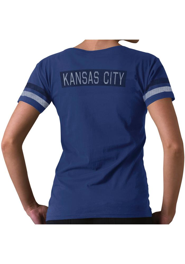 '47 Kansas City Royals Womens Blue Post Season V-Neck T-Shirt - Image 3
