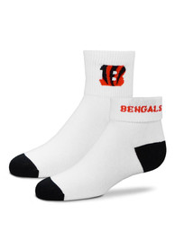 Cincinnati Bengals Youth White Rolldown Quarter Socks
