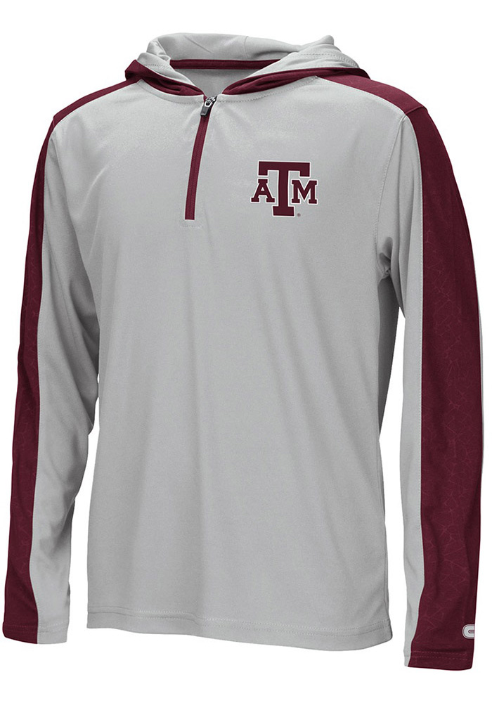 Colosseum Texas A&M Aggies Youth Grey Helisking Long Sleeve Quarter Zip Shirt - Image 1