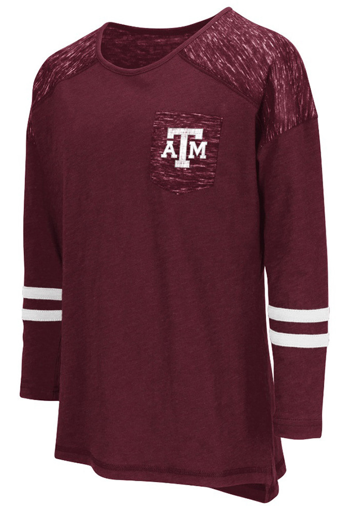 Colosseum Texas A&M Aggies Girls Maroon Phat Pocket Long Sleeve T-shirt - Image 1