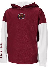 Temple Owls Youth Colosseum Snurfer Hooded Sweatshirt - Red