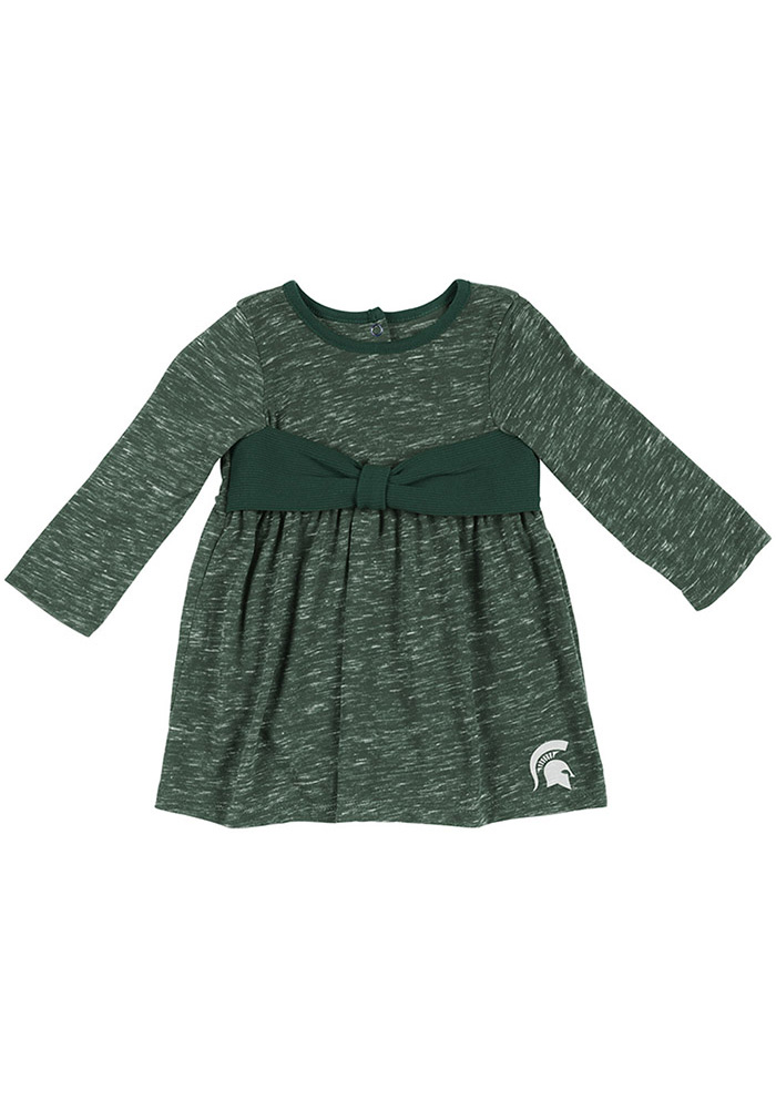 Colosseum Michigan State Spartans Baby Girls Green Crail Short Sleeve Dress - Image 1