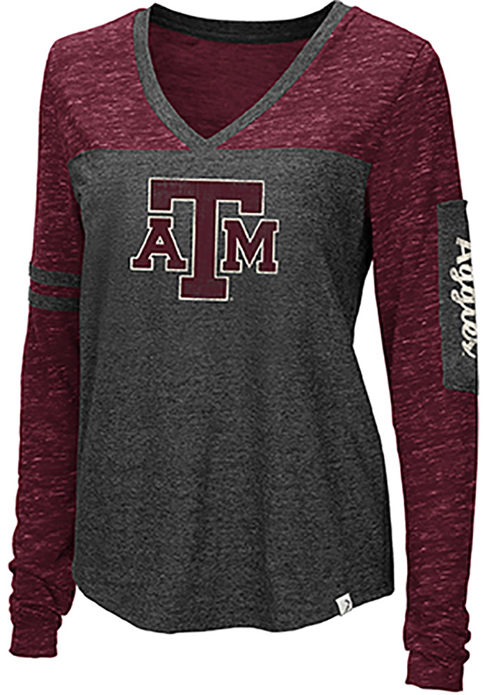Colosseum Texas A&M Aggies Womens Black Stance V Neck LS Tee - Image 1