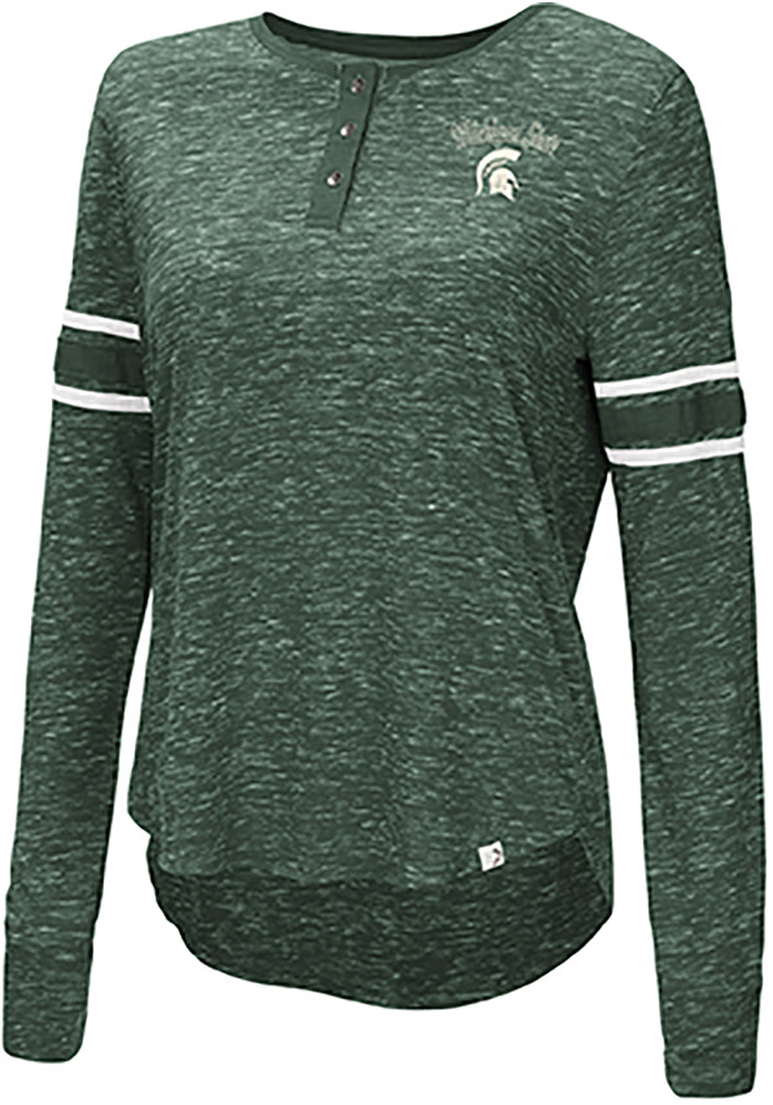 Michigan State Spartans Womens Colosseum Stag Leap Henley T-Shirt - Green