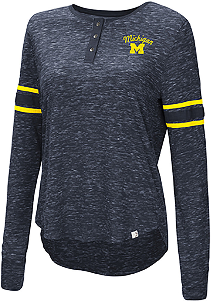 Colosseum Michigan Wolverines Womens Navy Blue Stag Leap Henley LS Tee - Image 1