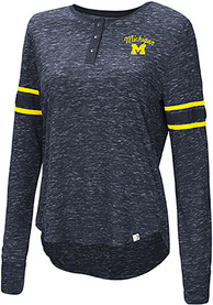 Michigan Wolverines Womens Colosseum Stag Leap Henley T-Shirt - Navy Blue