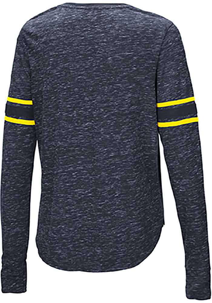 Colosseum Michigan Wolverines Womens Navy Blue Stag Leap Henley LS Tee - Image 2