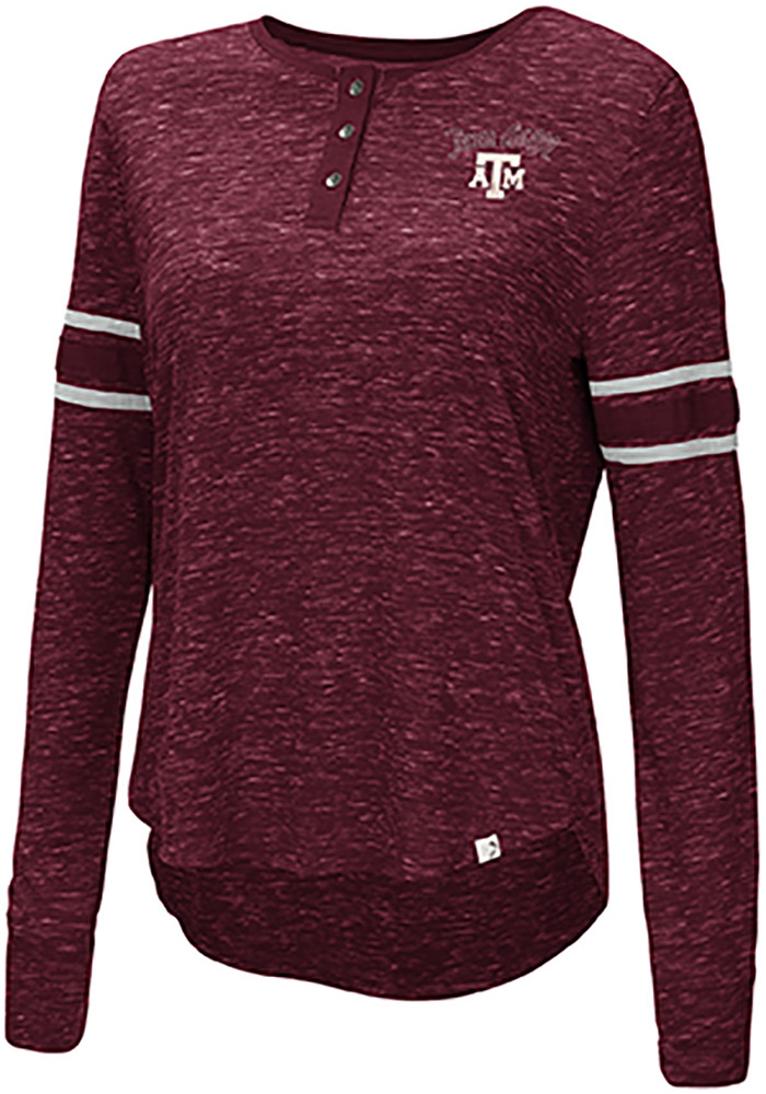 Colosseum Texas A&M Aggies Womens Maroon Stag Leap Henley LS Tee - Image 1
