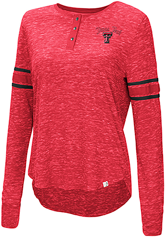 Colosseum Texas Tech Red Raiders Womens Red Stag Leap Henley LS Tee - Image 1