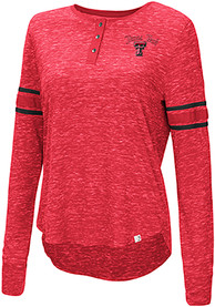 Texas Tech Red Raiders Womens Colosseum Stag Leap Henley T-Shirt - Red
