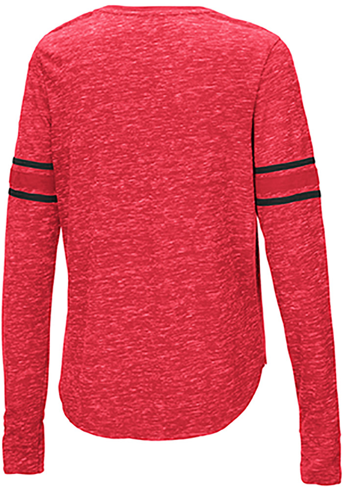 Colosseum Texas Tech Red Raiders Womens Red Stag Leap Henley LS Tee - Image 2