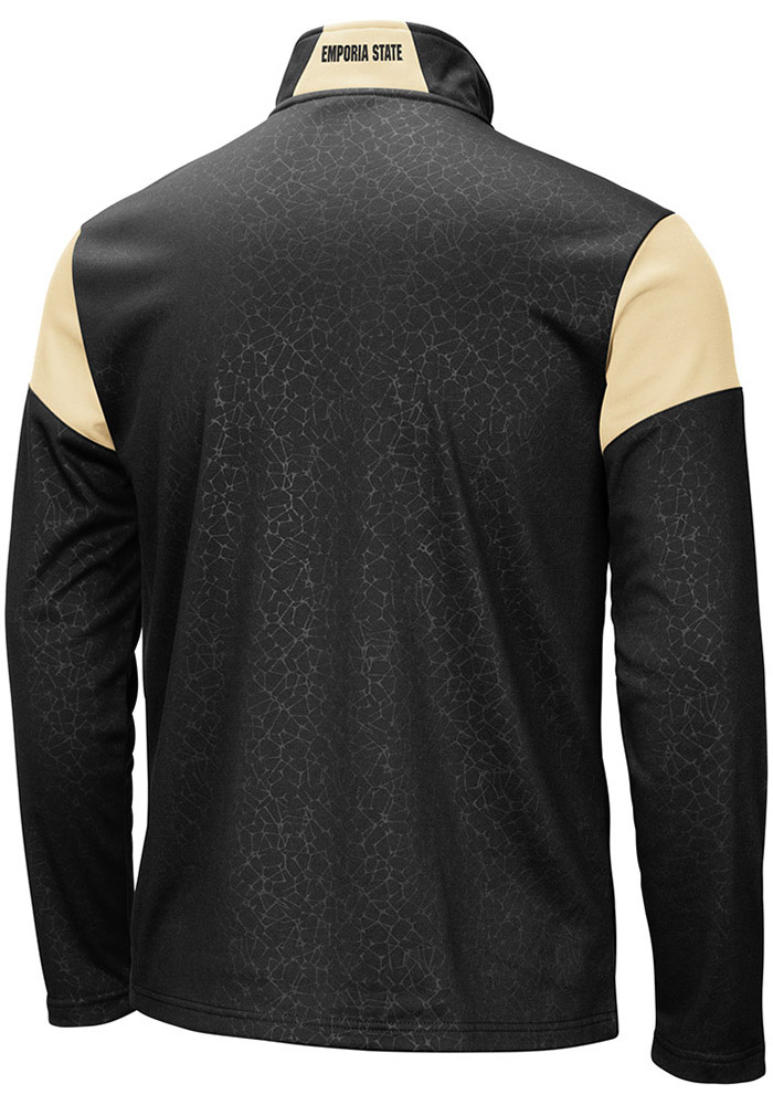 Colosseum Emporia State Hornets Mens Black Luge Long Sleeve 1/4 Zip Pullover - Image 2