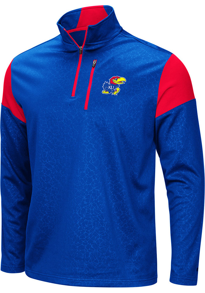 Colosseum Kansas Jayhawks Mens Blue Luge Long Sleeve 1/4 Zip Pullover - Image 1