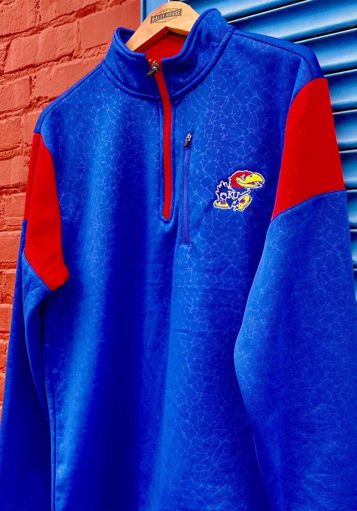 Colosseum Kansas Jayhawks Mens Blue Luge Long Sleeve 1/4 Zip Pullover - Image 3