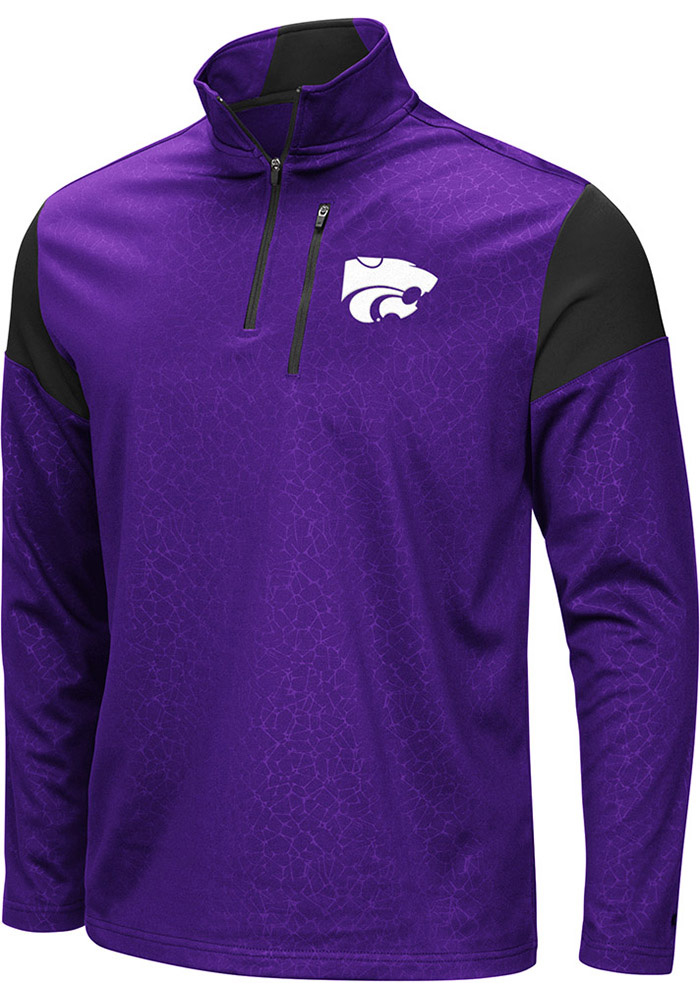 Colosseum K-State Wildcats Mens Black Luge Long Sleeve 1/4 Zip Pullover - Image 1
