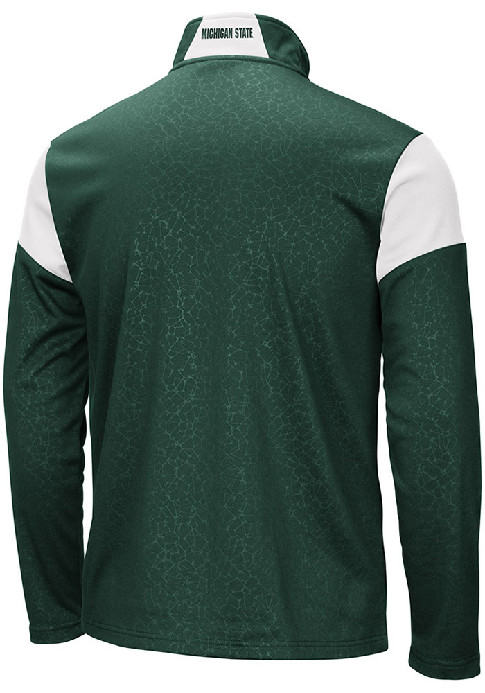 Colosseum Michigan State Spartans Mens Green Luge Long Sleeve 1/4 Zip Pullover - Image 2