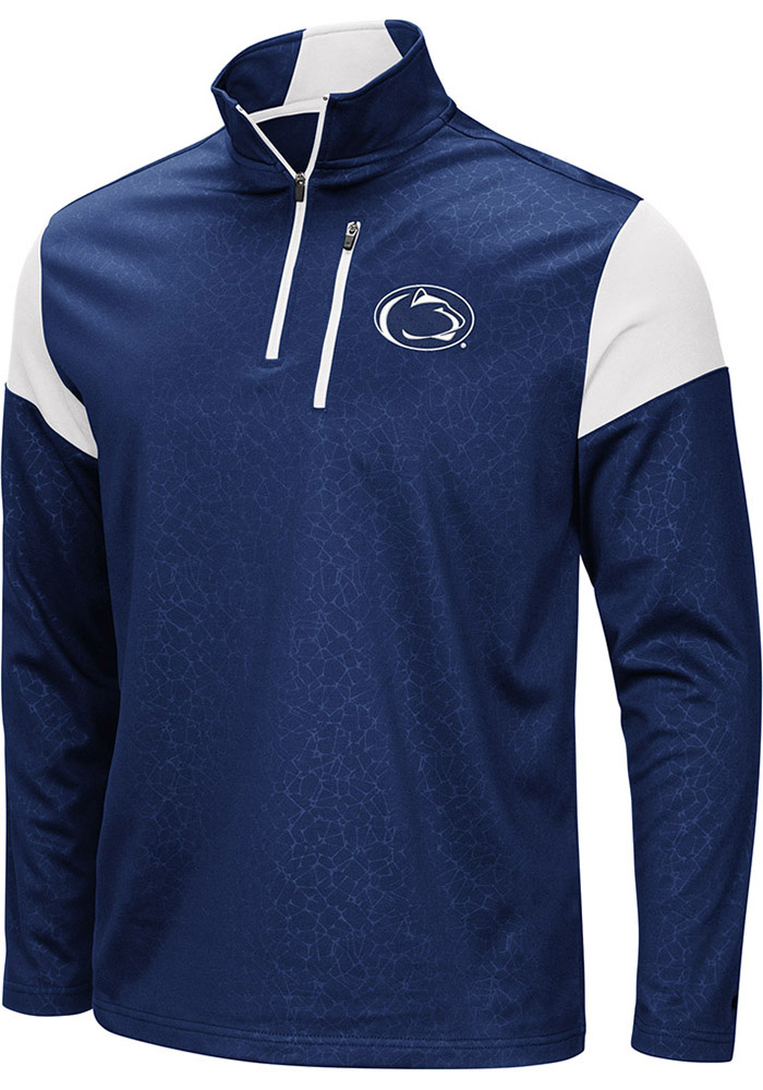 Colosseum Penn State Nittany Lions Mens Navy Blue Luge Long Sleeve 1/4 Zip Pullover - Image 1