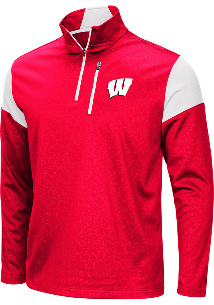 Colosseum Wisconsin Badgers Mens Red Luge Long Sleeve 1/4 Zip Pullover - Image 1