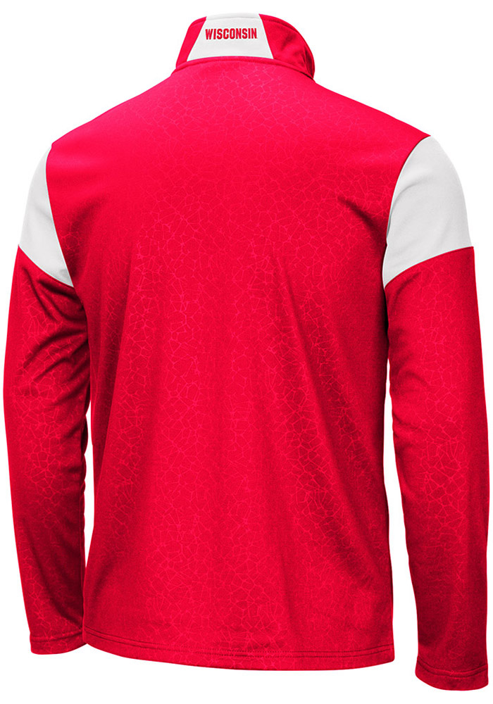 Colosseum Wisconsin Badgers Mens Red Luge Long Sleeve 1/4 Zip Pullover - Image 2