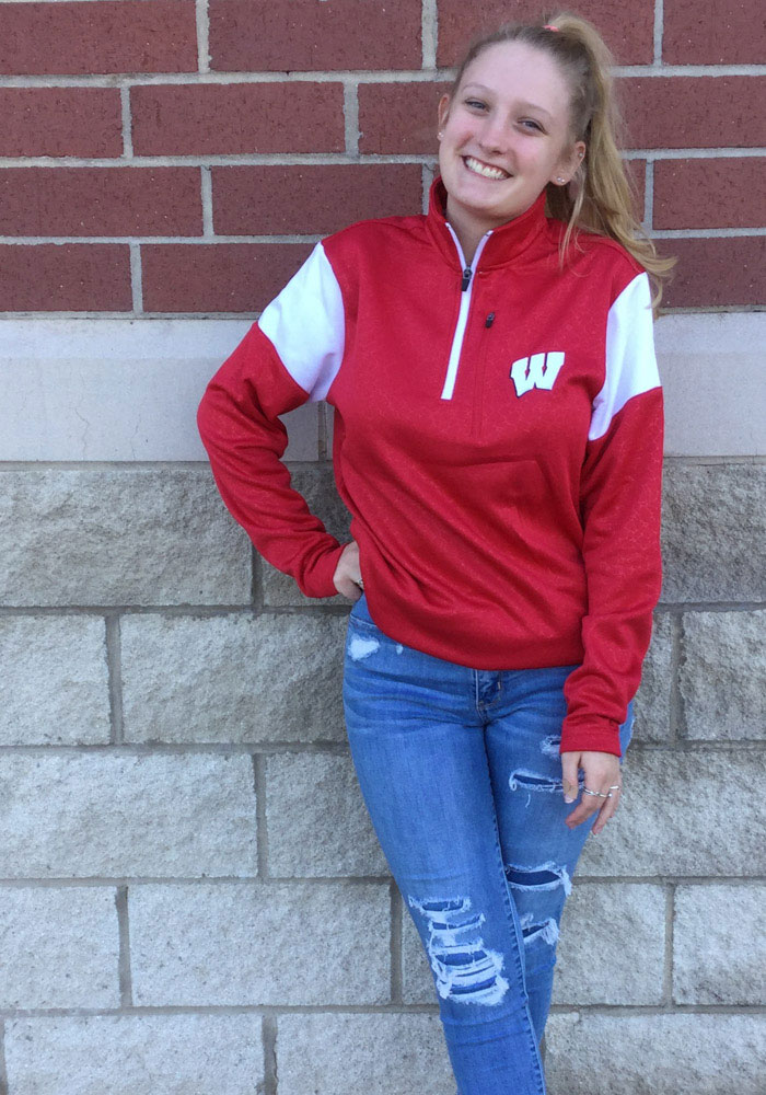 Colosseum Wisconsin Badgers Mens Red Luge Long Sleeve 1/4 Zip Pullover - Image 3
