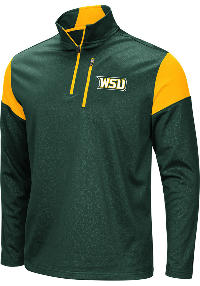 Colosseum Wright State Raiders Mens Green Luge Long Sleeve 1/4 Zip Pullover - Image 1