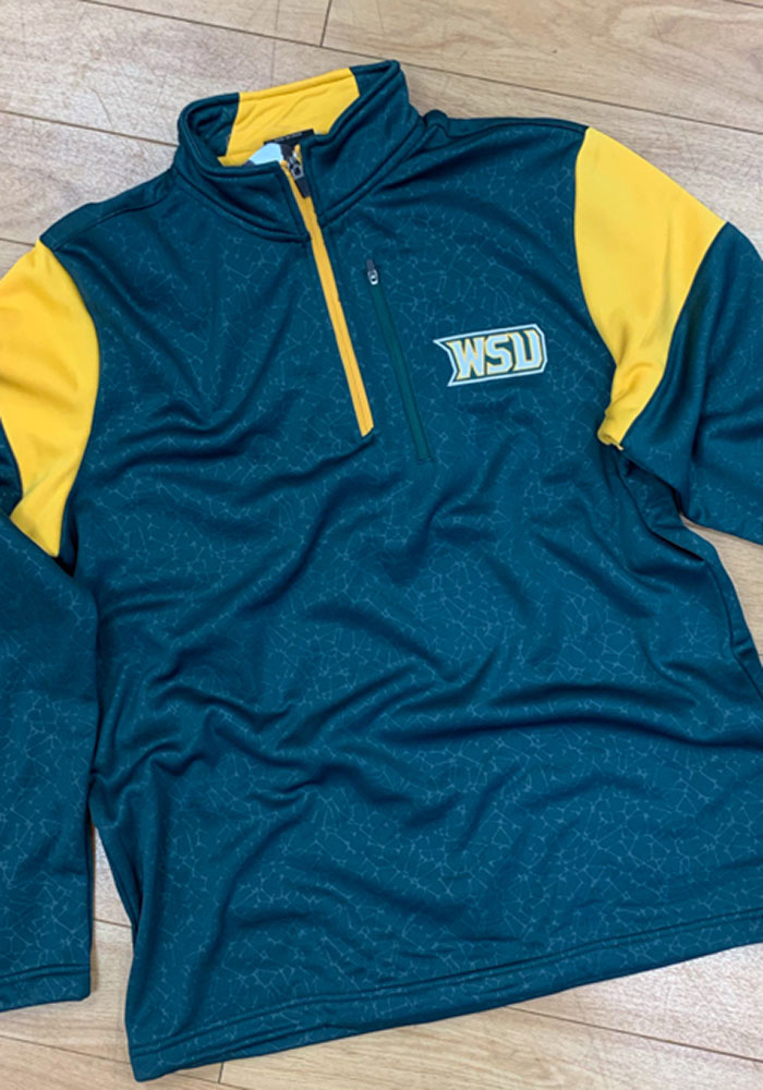 Colosseum Wright State Raiders Mens Green Luge Long Sleeve 1/4 Zip Pullover - Image 3